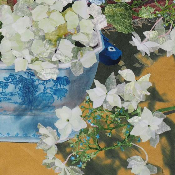 Blue and White Tureen with Hydrangeas detail