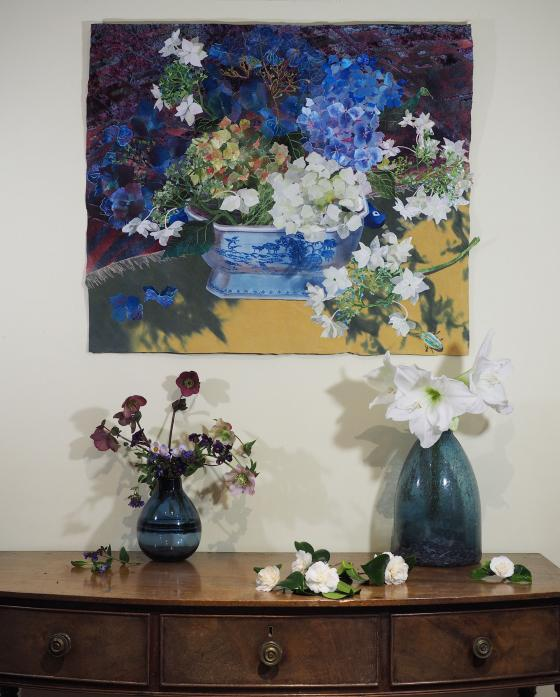 Blue and White Tureen with Hydrangeas in situ