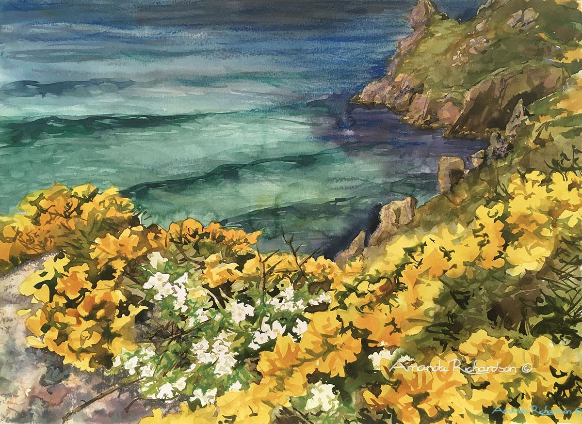 mixed media painting Gorse above Mill Bay