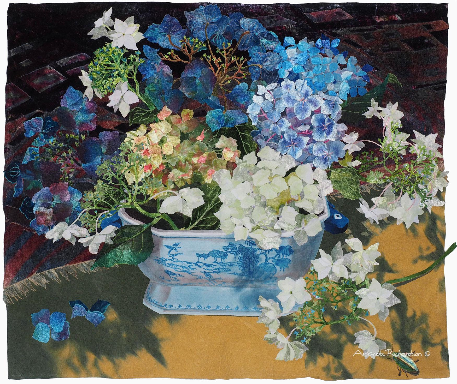 Blue and White Tureen with Hydrangeas